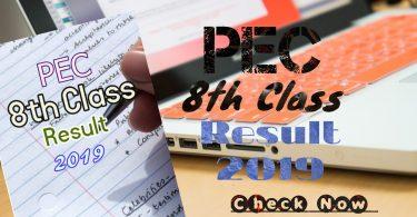 PEC 8th Class Result 2019